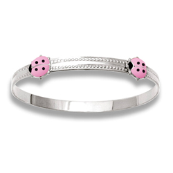 Keepsake Adjustable Bracelets - High Polished Sterling Silver Rhodium Pink Ladybugs Adjustable Bangle Bracelet - One bracelet fits baby, toddler, and child up to 5 years/