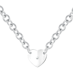 Exquisite Heirloom Heart Chain Diamond Necklace to Love - Sterling Silver Rhodium Heart Pendant - .04 ct. tw. Center Diamond - Engravable on back - 18