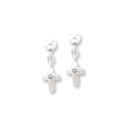 Dangle Cross Genuine Diamond Earrings for Girls - Sterling Silver Rhodium Earrings with Push-Back Posts/