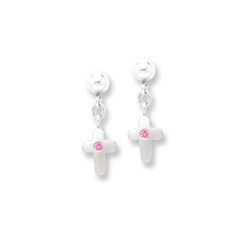 Dangle Cross Genuine Pink Sapphire Earrings for Girls - Sterling Silver Rhodium Earrings with Push-Back Posts - BEST SELLER/