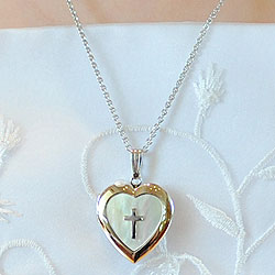 Fine Heirloom First Communion Mother of Pearl 19mm Heart Photo Locket for Girls - Sterling Silver Rhodium - Engravable on back - Includes a 14
