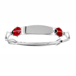 Red Ladybug - Keepsake Adjustable Bracelets - High Polished Sterling Silver Rhodium Adjustable Bangle Bracelet - Engravable on front - One bracelet fits baby, toddler, and child up to 8 years/