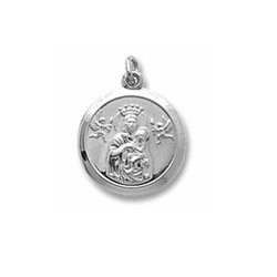 Rembrandt Sterling Silver Madonna and Child Charm (Large) – Engravable on back - Add to a bracelet or necklace/