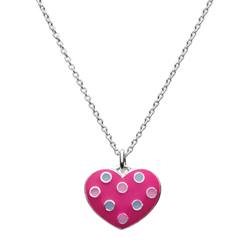 Adorable Bright Pink Polka Dotted Enameled Girls Heart Necklace - Sterling Silver Rhodium - 16