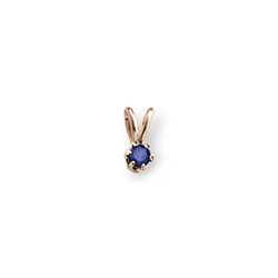 Little Girls Birthstone Necklaces - September Birthstone - 14K Yellow Gold Genuine Blue Sapphire Gemstone 3mm - Includes a 15