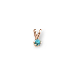Little Girls Birthstone Necklaces - December Birthstone - 14K Yellow Gold Genuine Blue Zircon Gemstone 3mm - Includes a 15