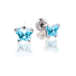 Teeny Tiny Butterfly Earrings for Baby Girls by Bfly® - March Aquamarine Cubic Zirconia (CZ) Birthstone - Sterling Silver Rhodium Kids Earrings with Push on Safety Backs - BEST SELLER/