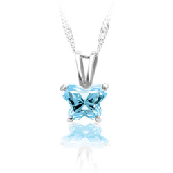 Teeny Tiny Butterfly Necklace for Girls by Bfly® - March Aquamarine Cubic Zirconia (CZ) Birthstone - Sterling Silver Rhodium Child Necklace - Includes a 14