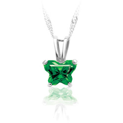 Teeny Tiny Butterfly Necklace for Girls by Bfly® - May Emerald Cubic Zirconia (CZ) Birthstone - Sterling Silver Rhodium Child Necklace - Includes a 14