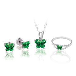 Teeny Tiny Butterfly Necklace, Earring, and Ring Set for Girls by Bfly® - May Emerald Cubic Zirconia (CZ) Birthstone - Sterling Silver Rhodium Girls Jewelry - 3 Item Set - Save $12.50/