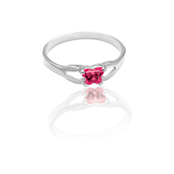 Teeny Tiny Butterfly Ring for Girls by Bfly® - July Ruby Cubic Zirconia (CZ) Birthstone - Sterling Silver Rhodium Child Ring - Size 3/