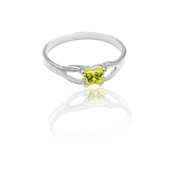 Teeny Tiny Butterfly Ring for Girls by Bfly® - August Peridot Cubic Zirconia (CZ) Birthstone - Sterling Silver Rhodium Child Ring - Size 3/