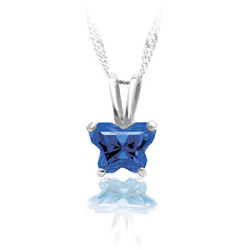 Teeny Tiny Butterfly Necklace for Girls by Bfly® - September Blue Sapphire Cubic Zirconia (CZ) Birthstone - Sterling Silver Rhodium Child Necklace - Includes a 14