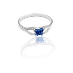 Teeny Tiny Butterfly Ring for Girls by Bfly® - September Blue Sapphire Cubic Zirconia (CZ) Birthstone - Sterling Silver Rhodium Child Ring - Size 3/