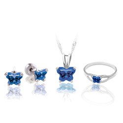 Teeny Tiny Butterfly Necklace, Earring, and Ring Set for Girls by Bfly® - September Blue Sapphire Cubic Zirconia (CZ) Birthstone - Sterling Silver Rhodium Girls Jewelry - 3 Item Set - Save $12.50/