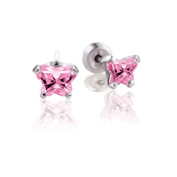 Teeny Tiny Butterfly Earrings for Baby Girls by Bfly® - October Pink Tourmaline Cubic Zirconia (CZ) Birthstone - Sterling Silver Rhodium Kids Earrings with Push on Safety Backs/
