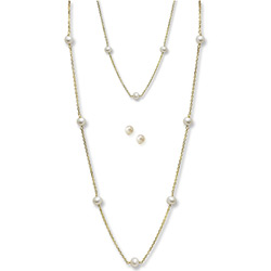 Little Girls Pearl Station Bracelet, Station Necklace, and Earring Set - Freshwater Cultured Pearl 14K Yellow Gold - 3 Item Set - Save $20 with this set/