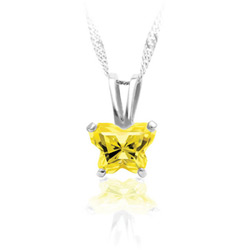 Teeny Tiny Butterfly Necklace for Girls by Bfly® - November Citrine Cubic Zirconia (CZ) Birthstone - Sterling Silver Rhodium Child Necklace - Includes a 14