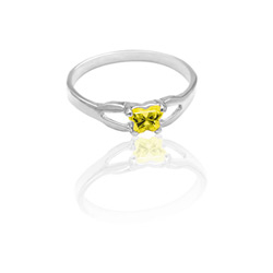 Teeny Tiny Butterfly Ring for Girls by Bfly® - November Citrine Cubic Zirconia (CZ) Birthstone - Sterling Silver Rhodium Child Ring - Size 3/