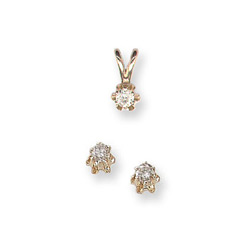 Little Girls Diamond Solitaire Necklace and Diamond Earring Set - 14K Yellow Gold - 2 Item Set - Save $10 with this set - BEST SELLER/