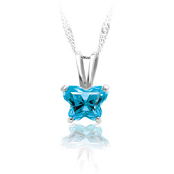 Teeny Tiny Butterfly Necklace for Girls by Bfly® - December Blue Topaz Cubic Zirconia (CZ) Birthstone - Sterling Silver Rhodium Child Necklace - Includes a 14