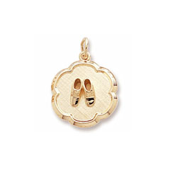 Rembrandt 10K Yellow Gold Baby Shoes Disc Charm – Engravable on back - Add to a bracelet or necklace/