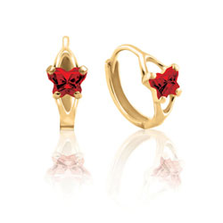 Baby 14K Yellow Gold January Garnet (Cubic Zirconia) C.Z. Tiny Butterfly Huggie Hoop Earrings/