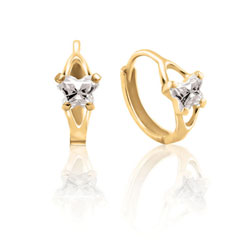 Baby 14K Yellow Gold April Diamond (Cubic Zirconia) C.Z. Tiny Butterfly Huggie Hoop Earrings/