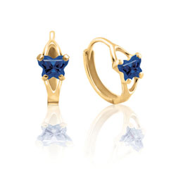 Baby 14K Yellow Gold September Blue Sapphire (Cubic Zirconia) C.Z. Tiny Butterfly Huggie Hoop Earrings/
