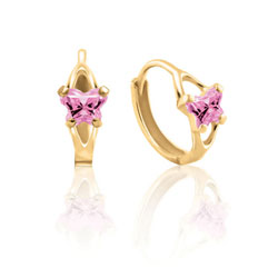 Baby 14K Yellow Gold October Pink Tourmaline (Cubic Zirconia) C.Z. Tiny Butterfly Huggie Hoop Earrings/