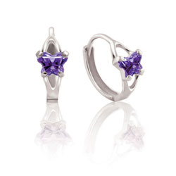 Baby 14K White Gold February Amethyst (Cubic Zirconia) C.Z. Tiny Butterfly Huggie Hoop Earrings/