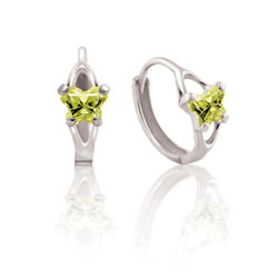 Baby 14K White Gold August Peridot (Cubic Zirconia) C.Z. Tiny Butterfly Huggie Hoop Earrings/