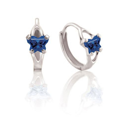Baby 14K White Gold September Blue Sapphire (Cubic Zirconia) C.Z. Tiny Butterfly Huggie Hoop Earrings/