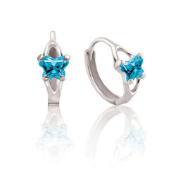 Baby 14K White Gold December Blue Topaz (Cubic Zirconia) C.Z. Tiny Butterfly Huggie Hoop Earrings/