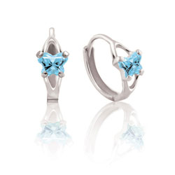 Baby 10K White Gold March Aquamarine (Cubic Zirconia) C.Z. Tiny Butterfly Huggie Hoop Earrings/