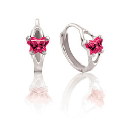 Baby 10K White Gold July Ruby (Cubic Zirconia) C.Z. Tiny Butterfly Huggie Hoop Earrings/