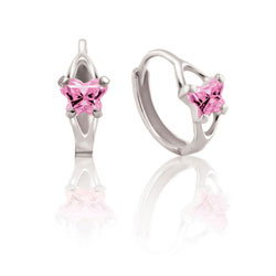 Baby 10K White Gold October Pink Tourmaline (Cubic Zirconia) C.Z. Tiny Butterfly Huggie Hoop Earrings/