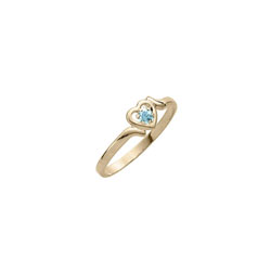 Toddler Birthstone Rings - 14K Yellow Gold Girls March Aquamarine Birthstone Ring - Size 3½ - Perfect for Toddlers and Grade School Girls - BEST SELLER/