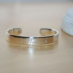 Nina - Girls Baby Christening Gift - Sterling Silver Engravable Girls Cuff Baby Bracelet - Size 4
