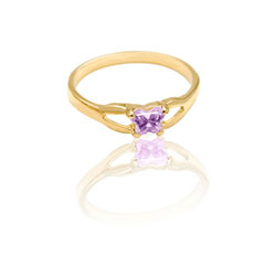 Teeny Tiny Butterfly Ring for Girls by Bfly® - June Alexandrite CZ Birthstone - 10K Yellow Gold Child Ring - Size 3 (3 - 8 years)/