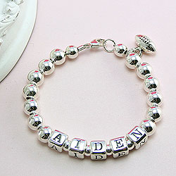 Classic Silver - Boy's sterling silver name bracelet - Grow-With-Me® designer bracelet - Personalize with birthstones & charms/