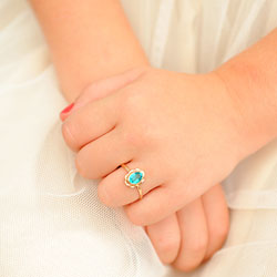 Girl's Birthstone Rings - 10K Yellow Gold Girls Synthetic December Blue Zircon Birthstone Ring - Size 5 1/2 - Perfect for Grade School Girls, Tweens, or Teens - BEST SELLER - LAST ONE/