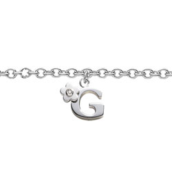 Girls Initial G - Sterling Silver Girls Initial Bracelet - Includes one Genuine Diamond Accented Initial G Charm - Add an optional engravable charm to personalize/