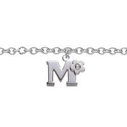 Girls Initial M - Sterling Silver Girls Initial Bracelet - Includes one Genuine Diamond Accented Initial M Charm - Add an optional engravable charm to personalize/