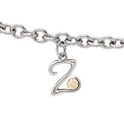 Girls Script Initial Z - Sterling Silver Girls Initial Bracelet - Includes one Genuine Diamond and 14K Yellow Gold Accented Initial Z Charm - Add an optional engravable charm to personalize/
