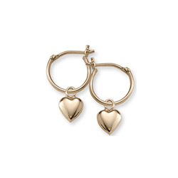 Gold Heart Hoop Earrings for Girls - 14K Yellow Gold Hoop Earrings for Girls Age 6 years and up - BEST SELLER/