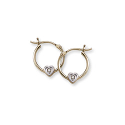 April Birthstone Genuine Diamond Heart Hoop Earrings for Girls - 14K Yellow Gold Hoop Earrings for Girls - Ages 6 and up - 0.02 ct. tw. Genuine Diamond Gemstone - BEST SELLER/