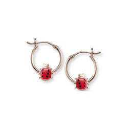 Gold Hoop Red Ladybug Earrings for Girls - 14k Yellow Gold Hoop Earrings for Girls - Ages 6 and up/