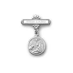 Guardian Angel Baptismal Pin -  Sterling Silver Rhodium - Add a birthstone to personalize - BEST SELLER/