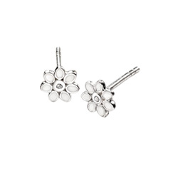 For My Little Flower Girl - Adorable Tiny Mother of Peal Flower Diamond Earrings for Girls - High Polished Sterling Silver Mother of Pearl Flower with Genuine Diamond - Push-Back Posts/